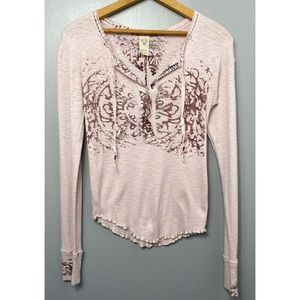 FREE PEOPLE We The Free Ribbed Henley Top